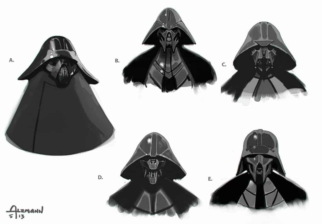 Initial designs for the creation of Kylo Ren's Helmet