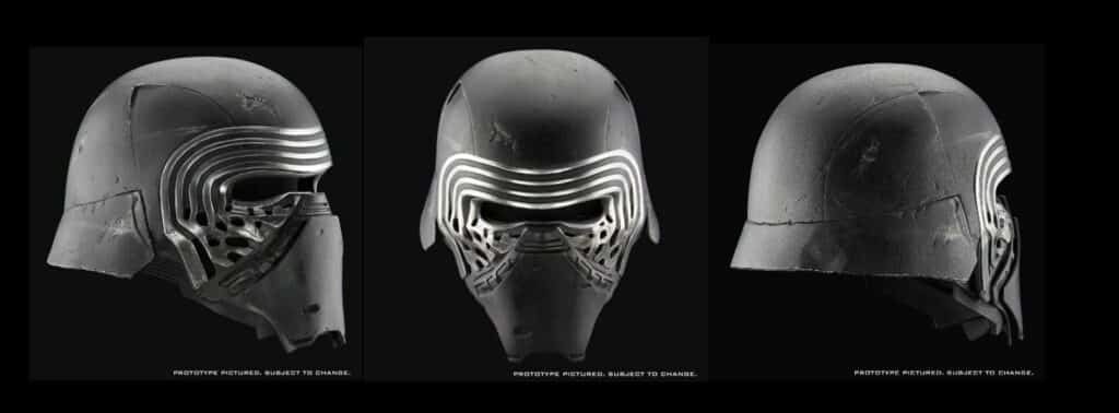 Three different positions of the The Force Awakens Kylo Ren Helmet by Anovos