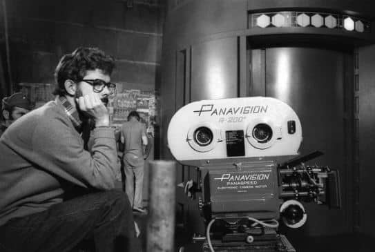 George Lucas with his camera at Star Wars footage