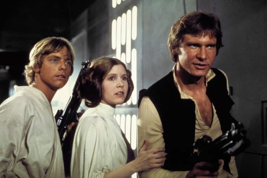 Luke, Leia and Han Solo in The New Hope Film
