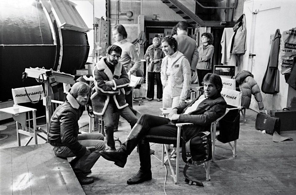George Lukas, Leia, Luke and Han Solo behind the Scenes