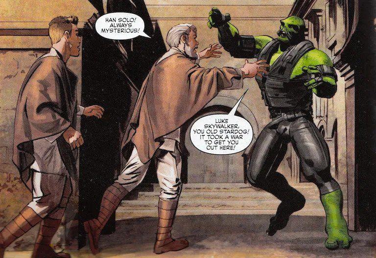 Han Solo as a green man alien