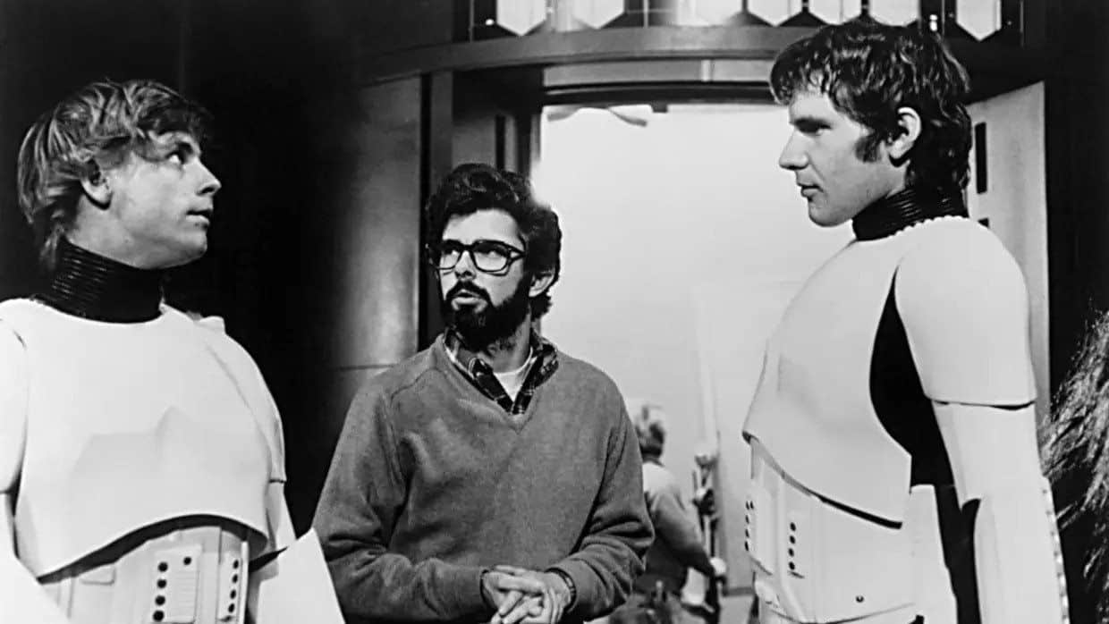 Luke and Han disguised as stormtroopers with George Lucas
