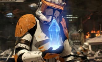 Commander Cody receiving Order 66 in Star Wars Revenge of the Sith