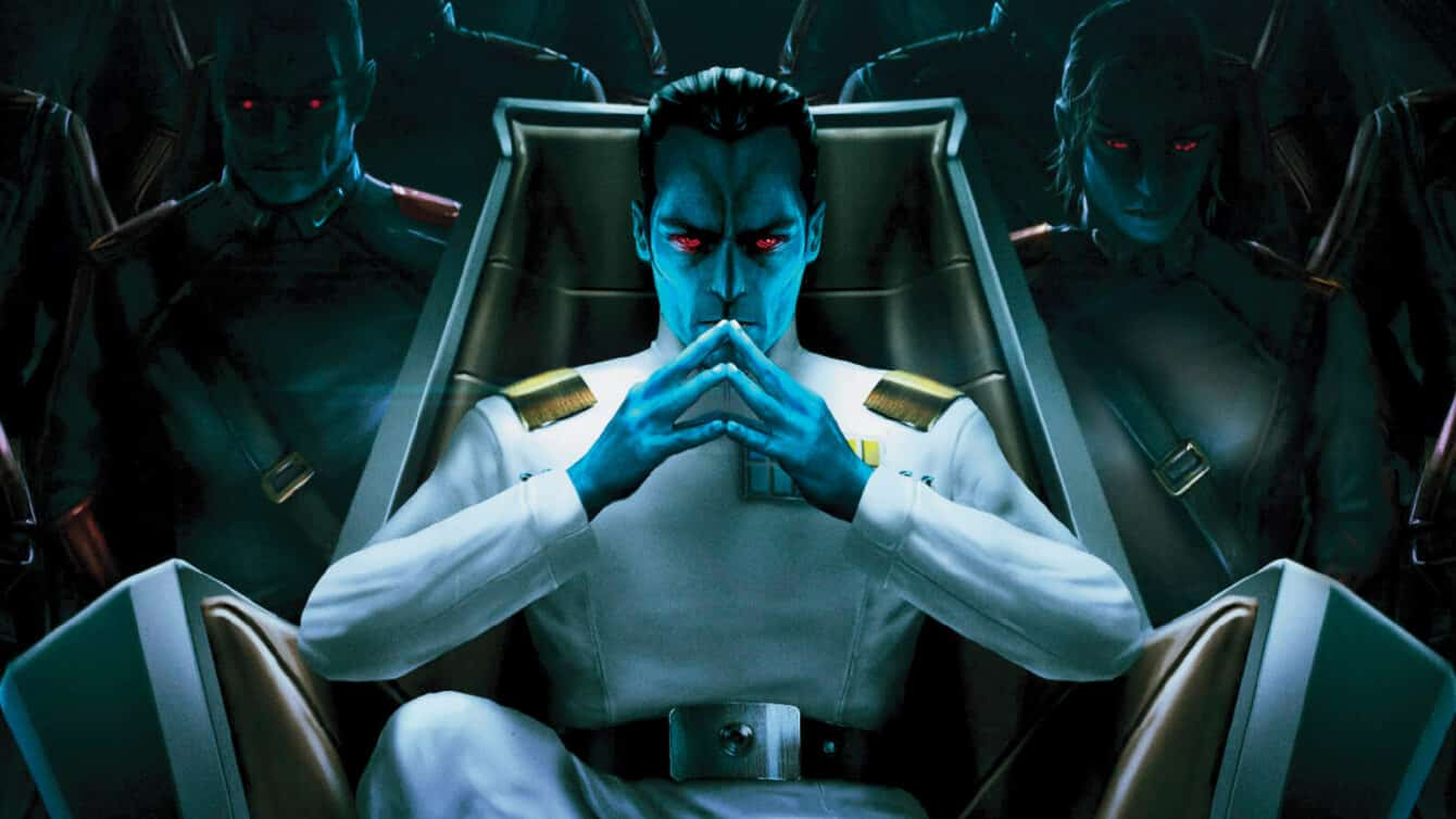 Grand Admiral Thrawn sitting in his throne