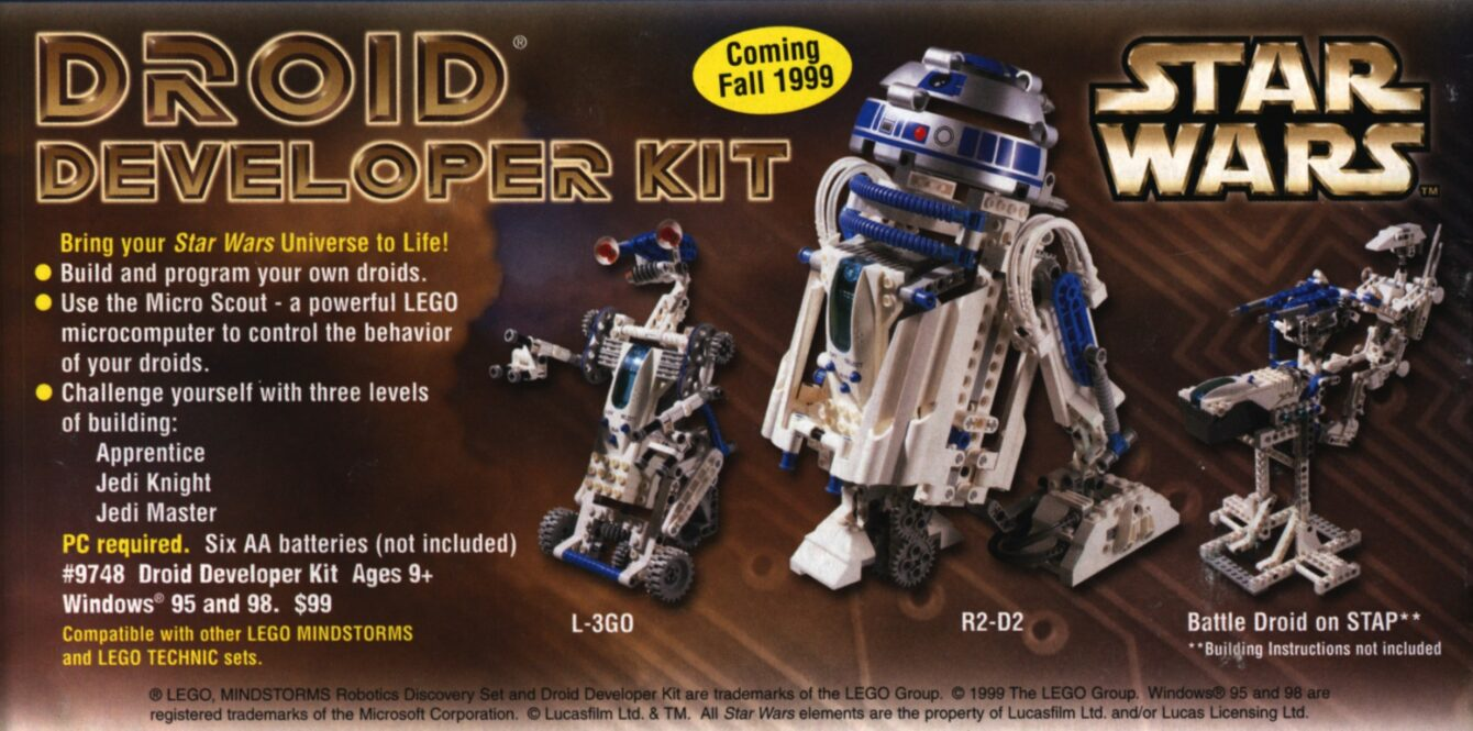 LEGO SAH Catalog 1999 anouncing Lego Mindstorms Droid Developer Kit