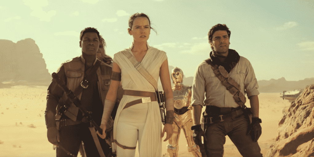 Rey Finn Poe Chewbacca and C3PO in The Rise of Skywalker