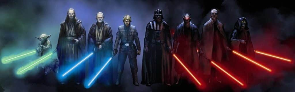 Four Jedi and four Sith ready for battle