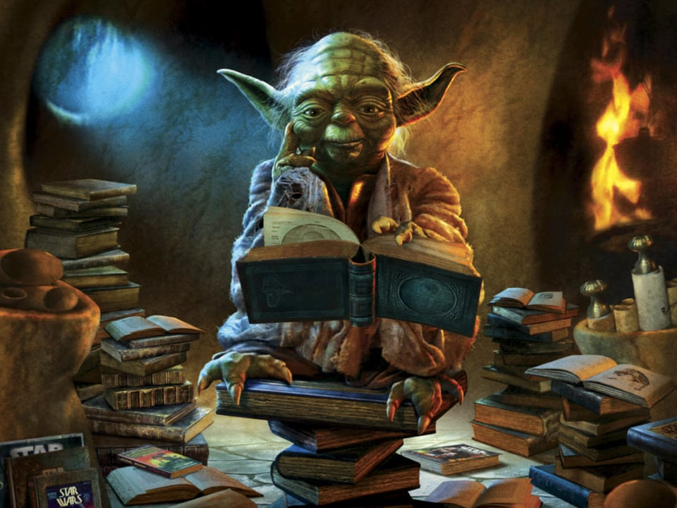 .Yoda thinking over a pile of books