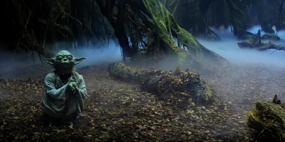 Yoda meditating in Degobah planet landscape