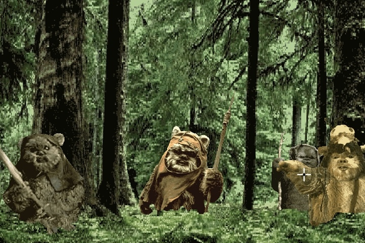 Three Ewoks standing in the planet Endor