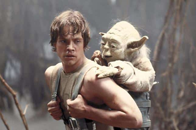 Luke skywalker learning how to use the force with yoda in Star wars Episode V