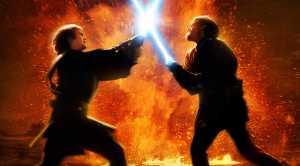 Anakin (now Darth Vader) battling Obi-Wan on Mustafar