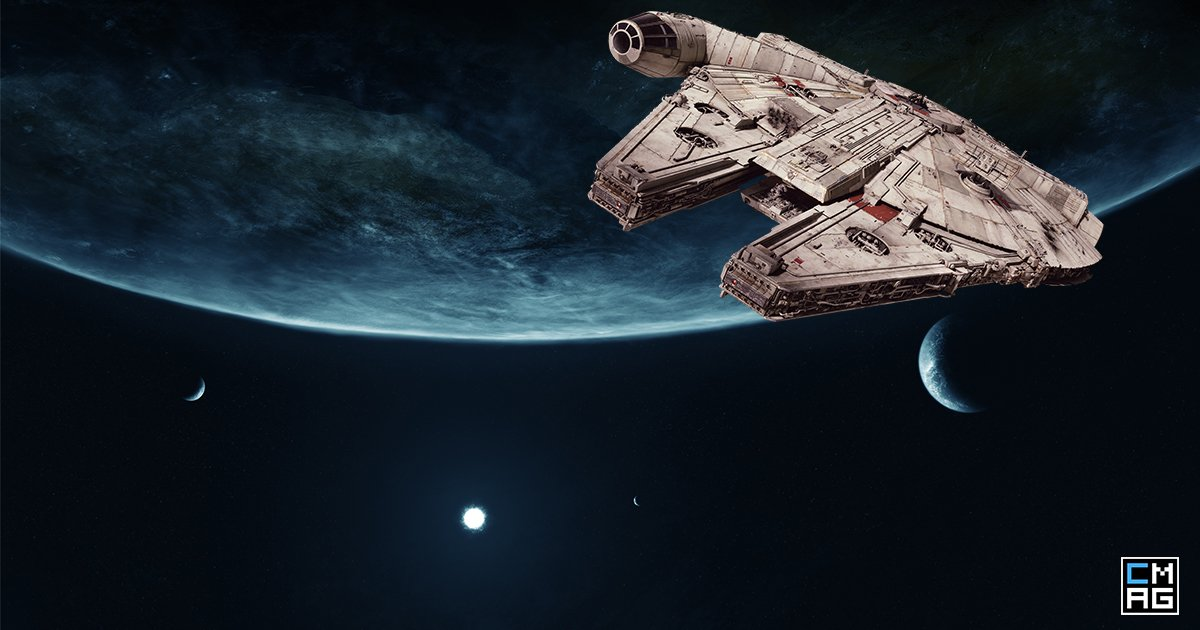 star wars universe whit Millennium Falcon