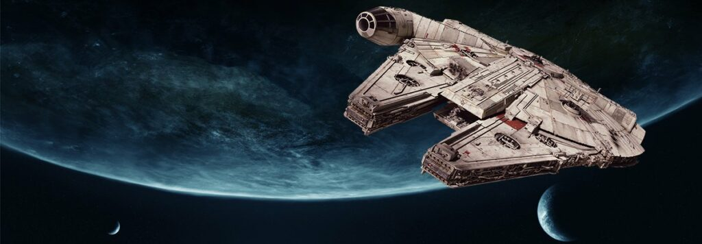 star wars universe with millennium falcon