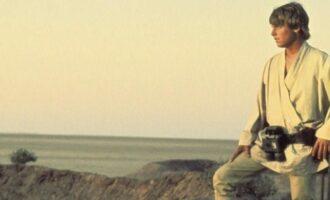Luke Skywalker looking at horizon in Tatooine Planet